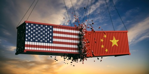 USA and China trade war[1]_ US of America and chinese flags crashed contain